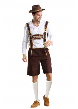 Mens Oktoberfest embroidery Costume with Hat + stocking