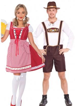 Couple Oktoberfest Wench Beer German Lederhosen Costume lh202lh300rlh998