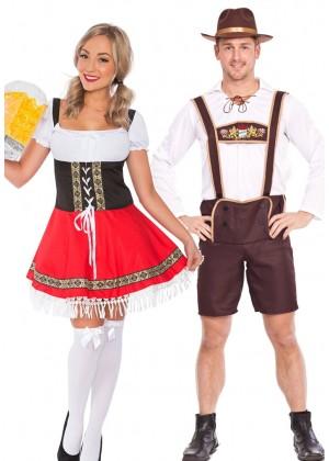 Couple Oktoberfest Dirndl Beer German Lederhosen Costume lh202lh301