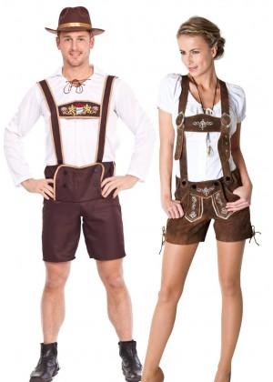 Couples Oktoberfest Maid Bavarian Lederhosen Costume