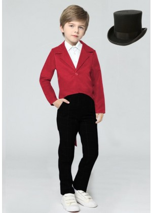 Red Kids Tailcoat Magician With Hat
