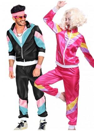 Couple 80s Shell Suit Black Pink Tracksuit Costume lh237bkln1002