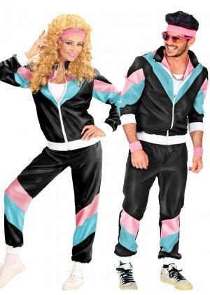 Couple 80s Shell Suit Black Tracksuit Costume lh237blacklh342black