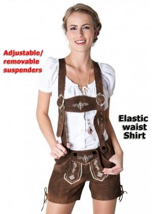 Ladies Oktoberfest German Bavarian Beer Maid Vintage Costume Lederhosen