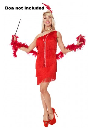 Ladies 20s 1920s Charleston Flapper Red Costume