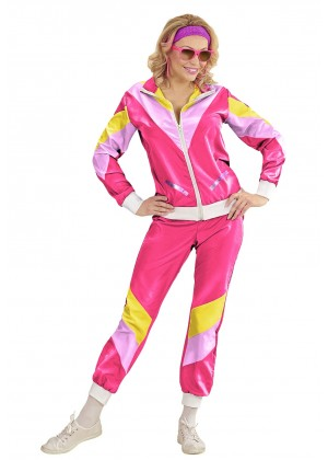 Womens Shellsuits 80s tracksuit hot pink front