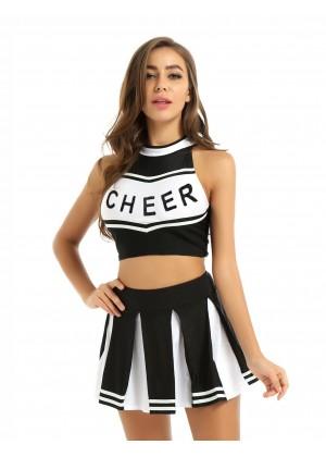 black Cheerleader Girl Uniform Costume lh350black