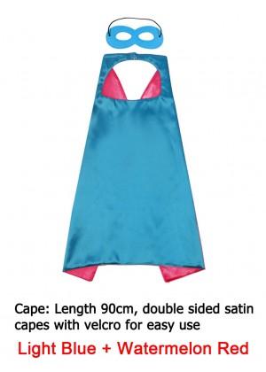 Light Blue & Watermelon red Kids Double sided Cape Mask Costume set tt1098-17