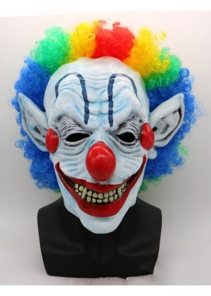 Scary Evil Full Mask Latex Foam Clown with Hair Adult lm105new