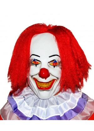 Halloween Scary Evil 3/4 Latex Foam Clown Mask with Hair collar