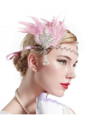 1920s Headband Feather Flapper Headpiece lx0163-4b