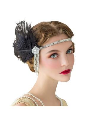 ladies 1920s Headband Feather Flapper
