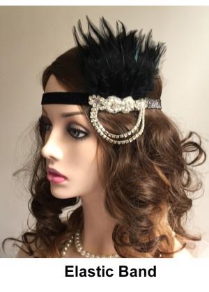 Ladies Black 20s Vintage Flapper Headband lx0247