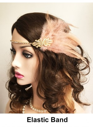 Ladies 20s Headpiece in Apricot color  lx0253