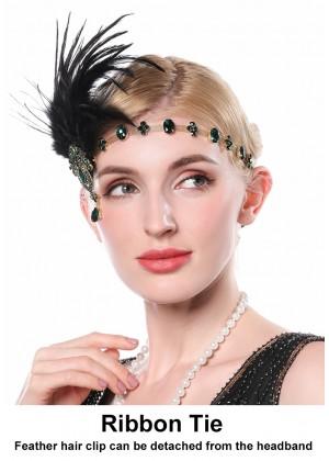 Ladies 20s headband with black feather and green Rhinestones lx0254