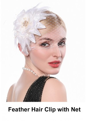 Ladies 20s Feather Hair Clip with Net accessory lx0255