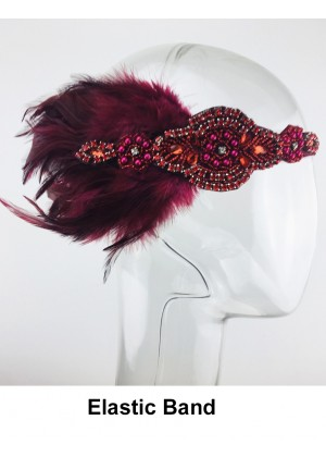 Ladies 1920s Red Feather Headband lx0259