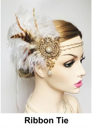 Ladies 1920s Bridal Headband White Feather lx0262