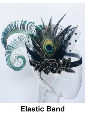 Ladies 1920s Bridal Headband Black Feather lx0264