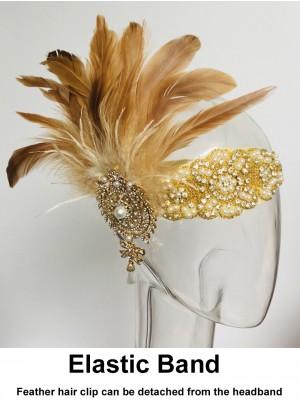 Ladies 1920s Feather Flapper Headpiece lx0265