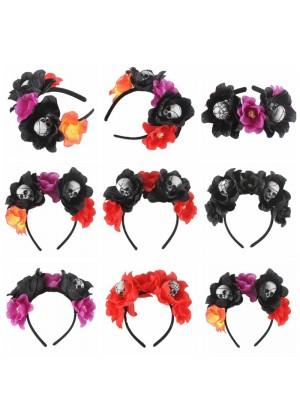 Skull & Flower Decor Headband