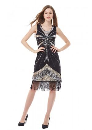 black gatsby theme dress lx1009_1