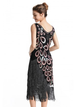 1920s Great Gatsby Charleston Party Costume Sequin Tassel Flapper Dress