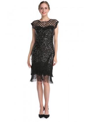 black  20s gatsby flapper dress lx1053black