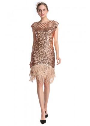 Rose gold 20s gatsby flapper dress lx1053rose