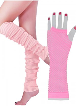 Coobey 80s Neon Fishnet Gloves Leg Warmers accessory set Baby Pink