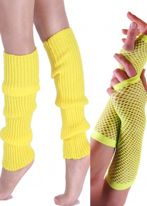 Coobey 80s Neon  Fishnet Gloves  Leg Warmers accessory set Yellow