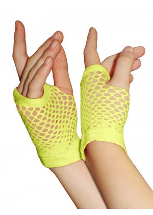 Yellow Fishnet Gloves Fingerless Wrist Length 70s 80s Women's Neon Accessories