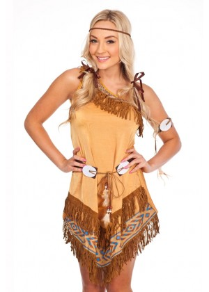 Ladies Indian Wild West Fancy Dress Costume lz458