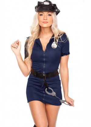 Womens blue Police Cops Uniform Costume