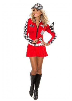 Red Car Racer Racing Costume Outfit