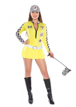 Yellow Car Racer Racing Costume Outfit