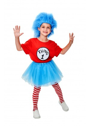 Kids Dr Seuss Cat In The Hat Thing Costume with Wig TuTu Pantyhose