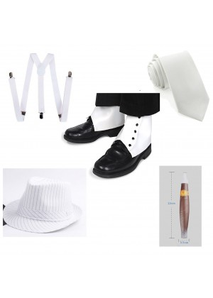 White Mens 1920s 20s Gangster Set Hat Braces Tie Cigar Set Gatsby Costume Accessories