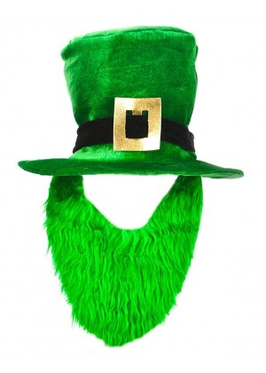 PLUSH LEPRECHAUN HAT WITH BEARD ST PATRICKS DAY NOVELTY irish green COSTUME ACCESSORY