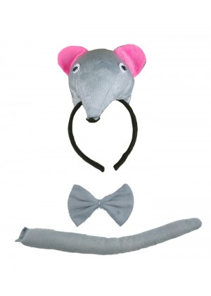 Rat Headband Bow Tail Set Kids Animal Farm Zoo Party Performance Headpiece