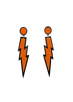 Orange Glitter Lightning Rock Star 80s Earrings tt1047-7