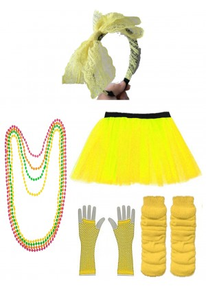 Yellow 80s accessory set