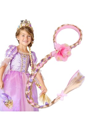 Rapunzel Girls Disney Princess Wig Headband Hair Plait with Pink Flower for Kids Costume Accessary