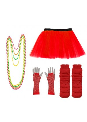 Red Coobey Ladies 80s Tutu Skirt Fishnet Gloves Leg Warmers Necklace Dancing Costume Accessory Set