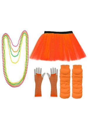Orange Coobey Ladies 80s Tutu Skirt Fishnet Gloves Leg Warmers Necklace Dancing Costume Accessory Set