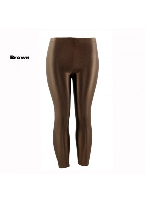 Brown 80s Shiny Neon Costume Leggings Stretch Fluro Metallic Pants Gym Yoga Dance
