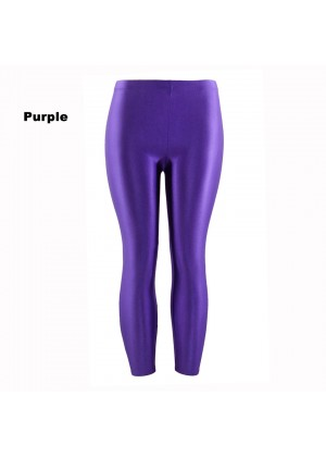 Purple 80s Shiny Neon Costume Leggings Stretch Fluro Metallic Pants Gym Yoga Dance