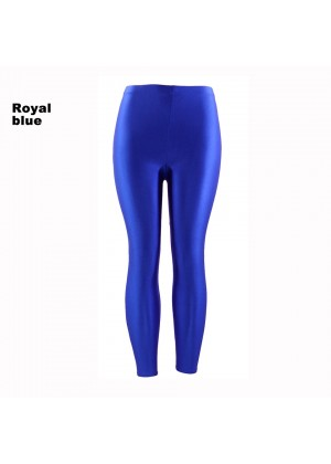 Royal Blue 80s Shiny Neon Costume Leggings Stretch Fluro Metallic Pants Gym Yoga Dance
