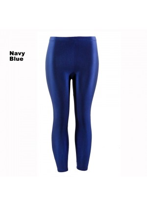 Navy Blue 80s Shiny Neon Costume Leggings Stretch Fluro Metallic Pants Gym Yoga Dance