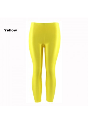 Yellow 80s Shiny Neon Costume Leggings Stretch Fluro Metallic Pants Gym Yoga Dance
